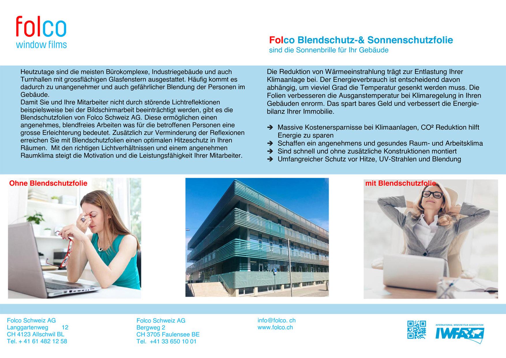 Folco Blendschutz-& Sonnenschutzfolie sind die Sonnenbrille für Ihr Gebäude